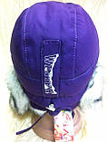 Фиолетовая шапка -ушанка для девочек , фото 3