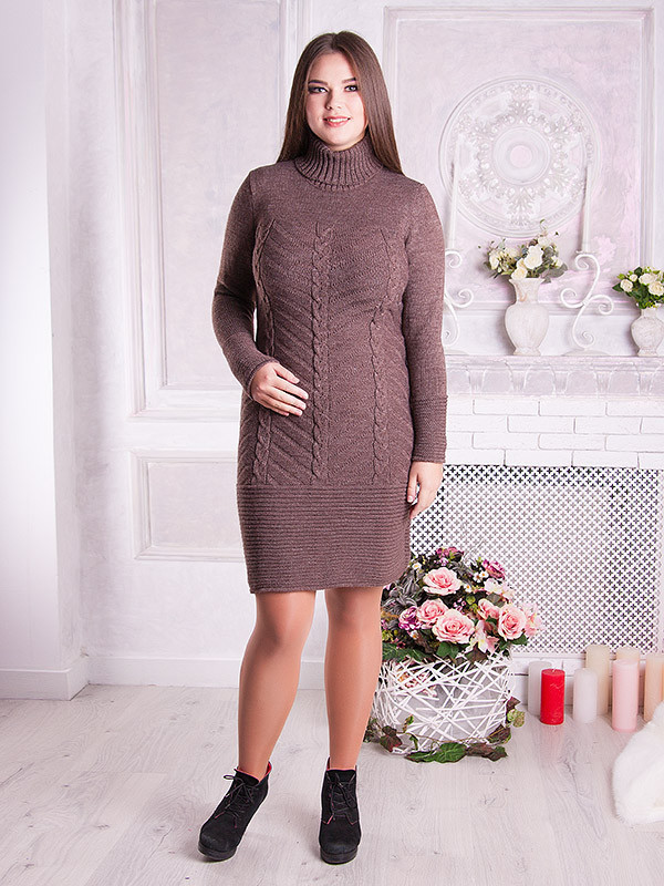 Вязаное платье с косами Ника 48-58