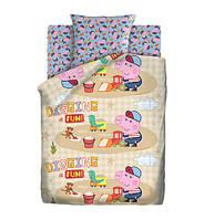 Детское полуторное постельное белье Песочница Свинка Пеппа 100% хлопок Peppa Pig