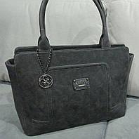 Женская сумка их эко нубука черного цвета GUE...  Материал эко нубук. Размер 43х30