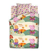 Детское полуторное постельное белье Осенний фестиваль Свинка Пеппа 100% хлопок Peppa Pig