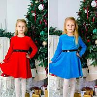 Детское платье из велюра с поясом