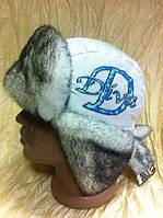Стильная шапка - ушанка для девочек цвет белый