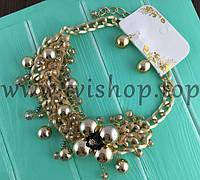 Комплект Dior под золото с бусинами, колье и серьги