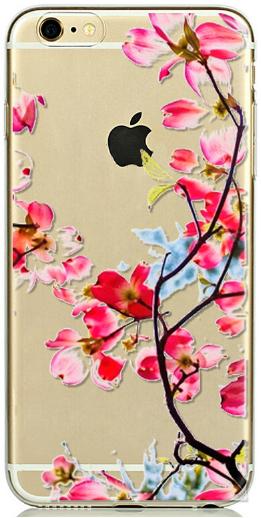 Прозрачный силиконовый чехол с цветочками для iphone 6/6S