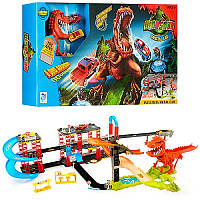 Трек 8899-92, динозавр Рекс в городе, звук, английский, 2 машинки, на батарейке, в коробке, захватывающие игры