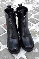Теплые женские зимние ботинки в стиле Diеsel натуральная кожа, внутри шерсть. Декор спереди молния