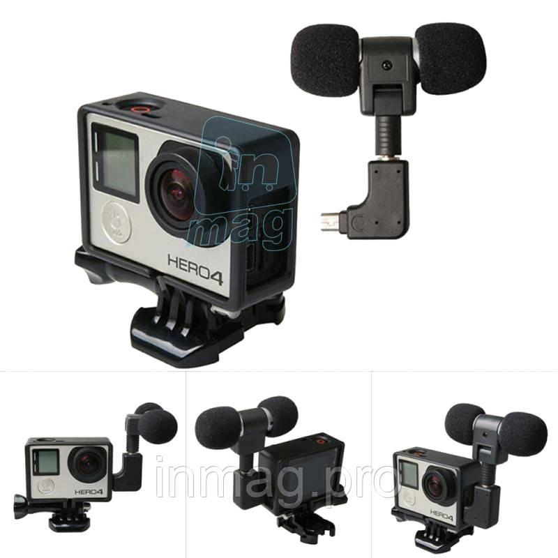 Внешний стерео микрофон MINI (питание от камеры) с переходником для Go