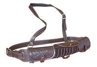 Патронташ кожаный однорядный с тиснением 12 к*18 патронов