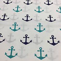 Ткань с сине-бирюзовыми якорями