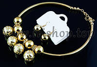 Комплект бижутерии Dior под золото: жесткое колье и серьги (набор украшений в стиле Диор)