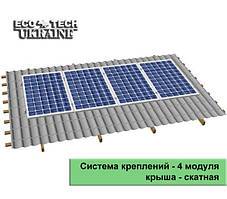 Система креплений для солнечных панелей на скатную крышу (на 4 панели)