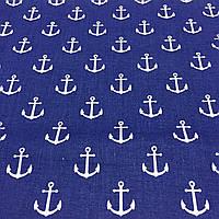 Ткань с белыми якорями на синем фоне