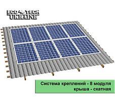 Система креплений для солнечных панелей на скатную крышу (на 8 панелей)