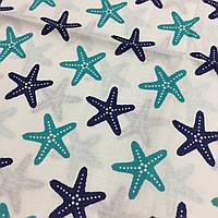 Ткань с сине-бирюзовыми морскими звездами, ширина 160 см, фото 1