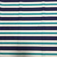Ткань с сине-бирюзовой крупной полоской