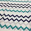 Ткань с сине-бирюзовыми зигзагами
