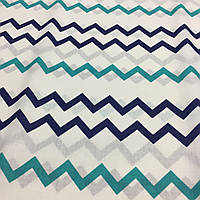 Ткань с сине-бирюзовыми зигзагами, фото 1