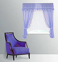 """Кухонная штора """"Сельва"""" на две стороны. 3 м. белый с голубым"""
