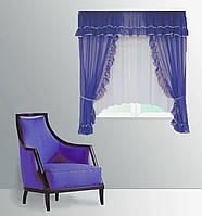 """Кухонная штора """"Сельва"""" на две стороны. 3 м. белый с синим"""