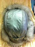 Жіноча вушанка колір сірий з білим хутром, фото 2