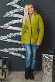 Тепла жіноча куртка оливкового кольору