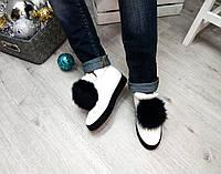 Женские короткие зимние ботиночки с натуральной меховой отделкой (песец) 39 40