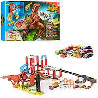 Трек 8899-94, динозавр - звук, английский, на батарейках, 10 машинок, в коробке, отличный подарок с коллекцией