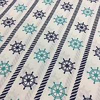 Ткань с сине-бирюзовыми штурвалами, фото 1