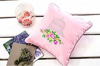 Подушка декоративная с вышивкой и кантом