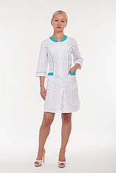 Женский медицинский халат с бирюзовыми вставками