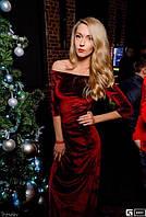 Бархатное длинное  платье с разрезом  0256