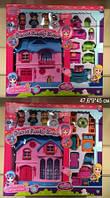 """Домик 60221AB """"Little Charmers"""" с куклами, мебелью батар.муз.свет.кор.47,6*9*45 ш.к./12/(60221AB)"""