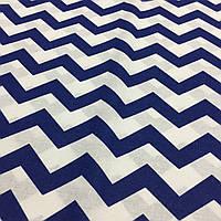 Ткань с синими зигзагами на белом фоне, фото 1