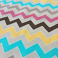 Ткань с разноцветным зигзагом на бежевом фоне, фото 1