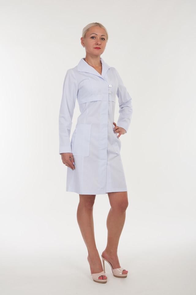 фотография медицинский халат белого цвета с длинными рукавами
