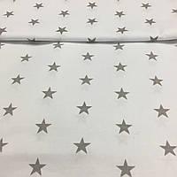 Ткань с серыми звездами на белом фоне, фото 1