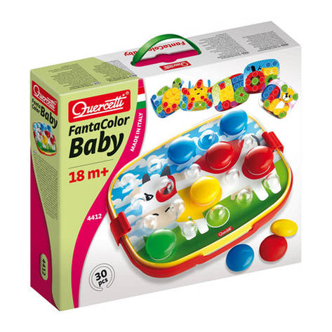 Развивающие и обучающие игрушки «Quercetti» (4412-Q) набор мозаики FantaColor Baby, 24 фишки и доска, фото 2