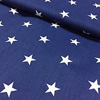 Тканина бязь зірки 2 см білі на синьому тлі, ш. 160 см, фото 1