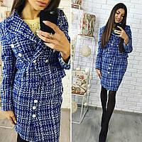 Деловой костюм женский пиджак и юбка синий
