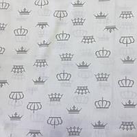 Ткань с серыми коронами на белом фоне, фото 1