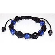 Браслет Шамбала синие стразы и синие камни