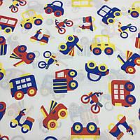 Тканина з різнокольоровими машинками на білому тлі, фото 1