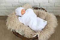 Праздничная пеленка- кокон на молнии+ шапочка 0-3 мес