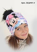 Детская шапка на флисе Минни 5