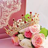 Корона, диадема, тиара, под золото с красными камнями, высота 5,5 см., фото 2