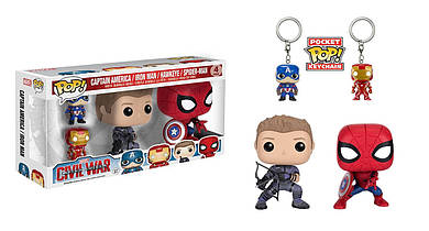 Набор 4 супергероя Спайдермен Соколиный глаз Капитан Америка Железный человек Funko POP Marvel set