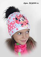 Детская шапка на флисе Минни 6