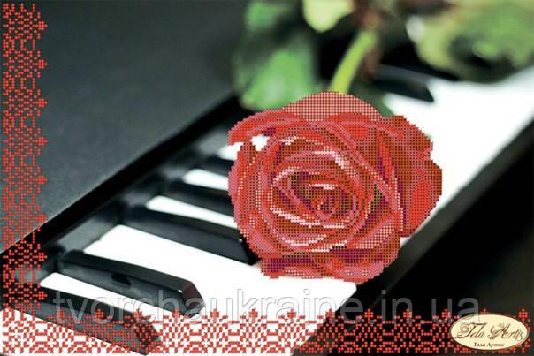 Пианино и роза. Схема для вышивки бисером