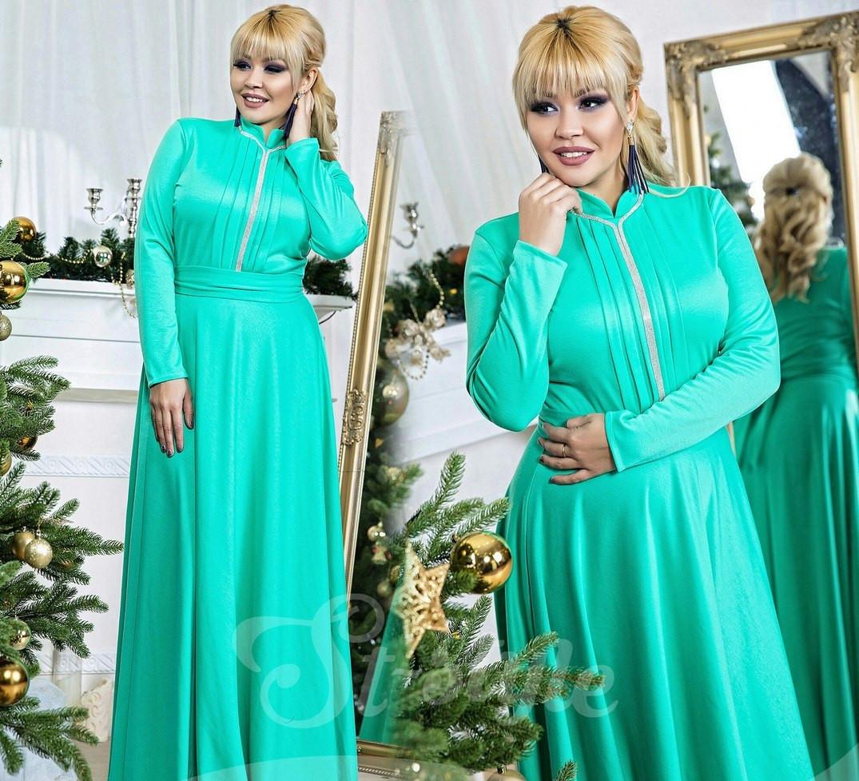 b3023bf3d76155f Платье в пол батал со стразами мята, цена 774 грн., купить в Одессе —  Prom.ua (ID#459843519)